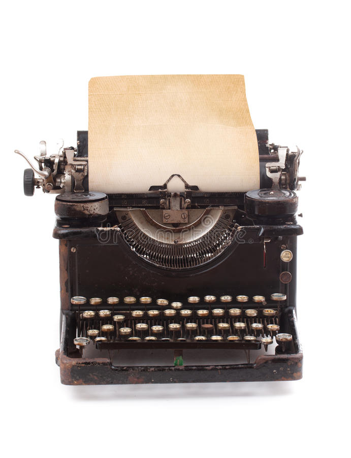 Old vintage typewriter. With a blank sheet of paper inserted royalty free stock photography