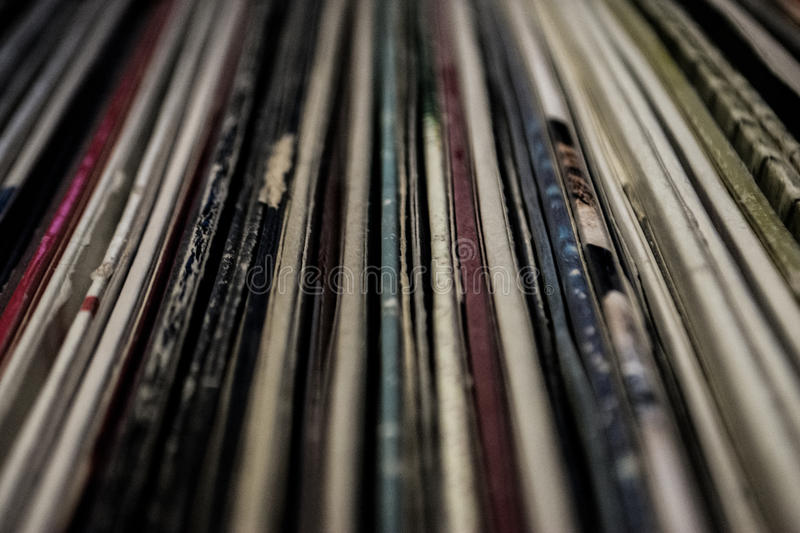 Old Vintage Vinyl Collection With Cover Stock Image