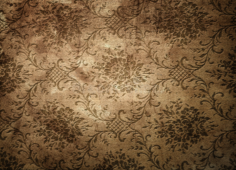 Old vintage wallpaper. Old brown stained vintage wallpaper stock photography