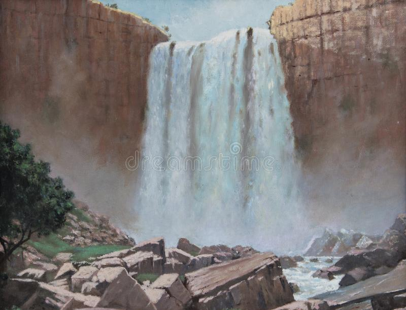 Old vintage waterfall over rocky cliff landscape oil painting wi stock photo