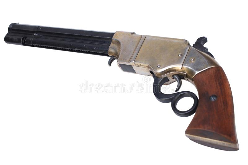Old vintage weapon - Volcanic Repeating Pistol. Isolated on white background royalty free stock photos