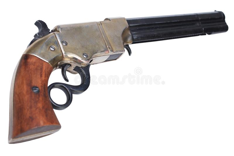 Old vintage weapon - Volcanic Repeating Pistol. Isolated on white background stock images