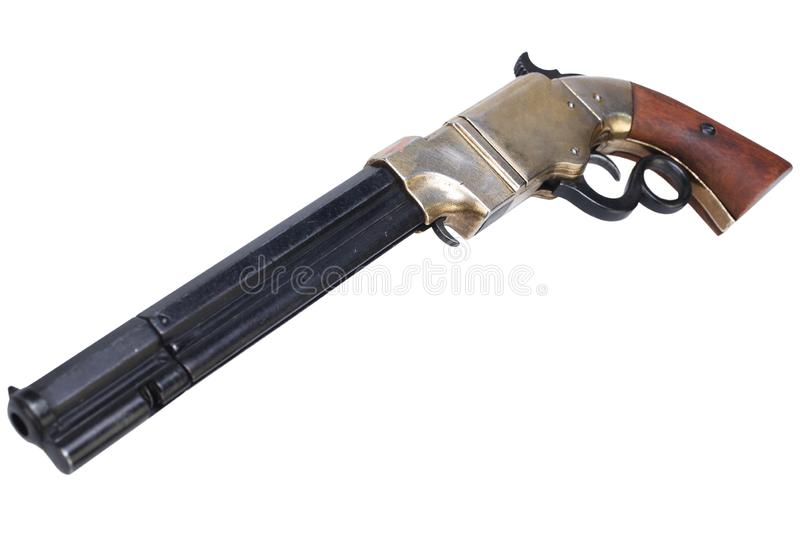 Old vintage weapon - Volcanic Repeating Pistol. Isolated on white background royalty free stock photography