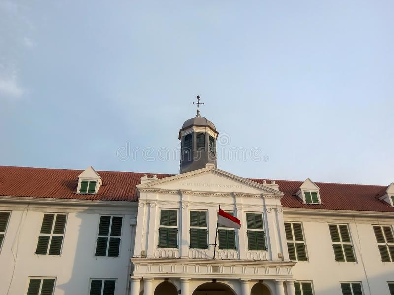 Old vintage white building in Jakarta royalty free stock image