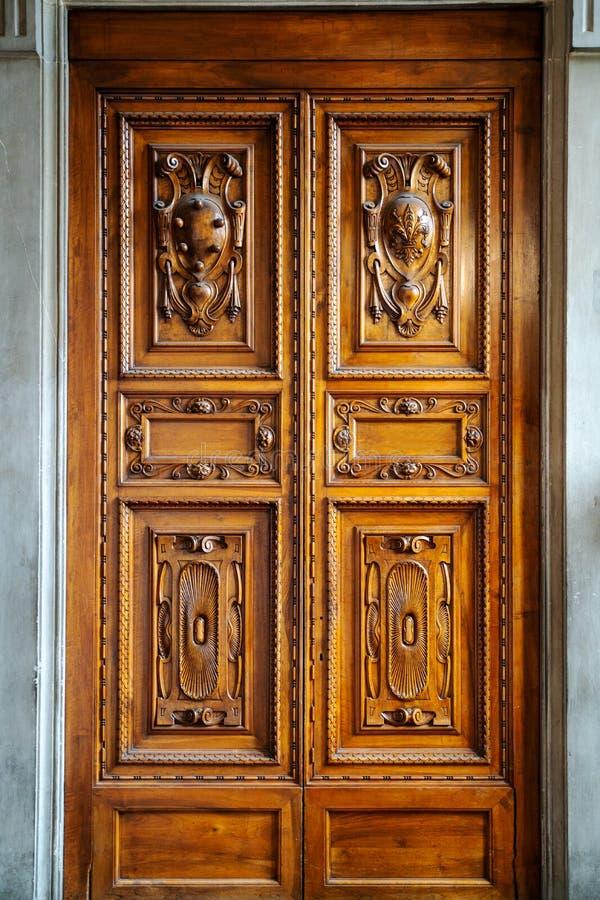 Old vintage wood door in museum stock images