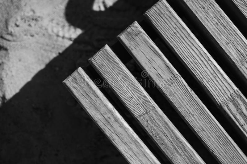 Old vintage wood texture. Bench or table corner stock photo
