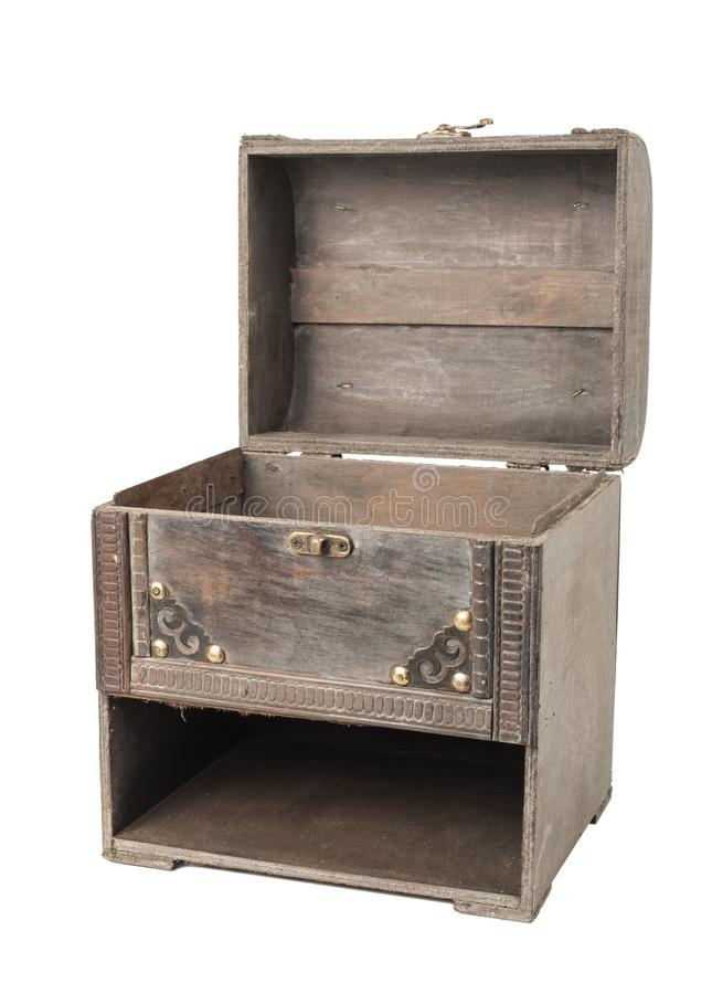 Old vintage wooden case with opened head stock photos