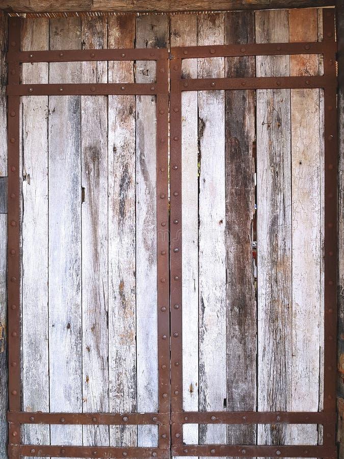 Old Vintage Wooden Planks Door With Metal Reinforced Frame Stock ...