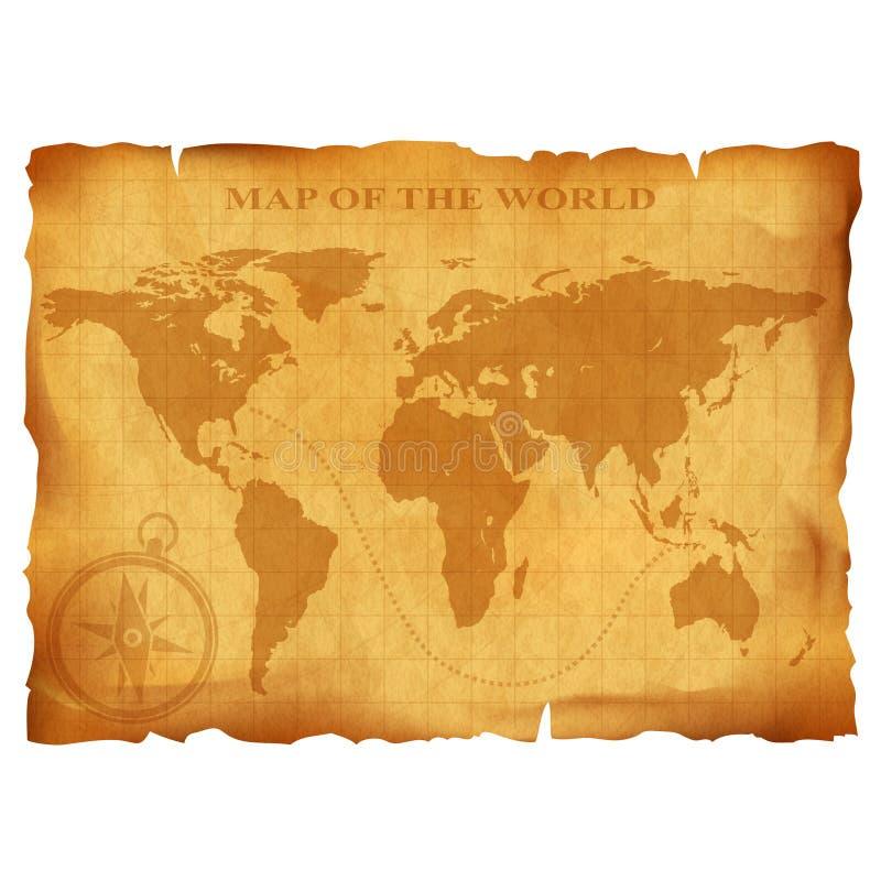 Old vintage world map. Ancient manuscript. Grunge paper texture. stock illustration