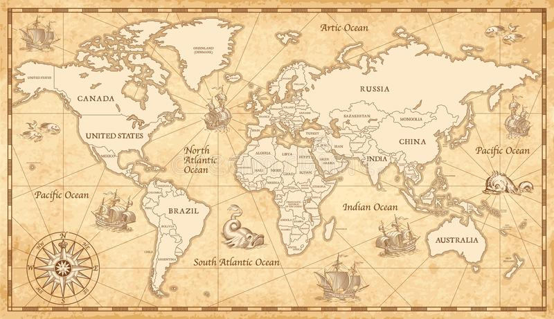 Old vintage world map stock vector illustration of globe 102569024 download old vintage world map stock vector illustration of globe 102569024 gumiabroncs Image collections