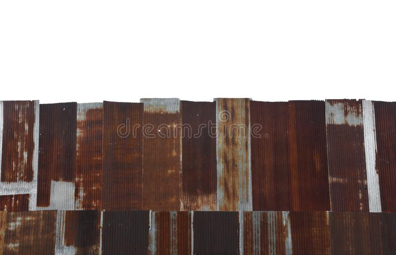 Old, vintage zinc sheet galvanized sheet texture isolated on white background. Copy space royalty free stock image