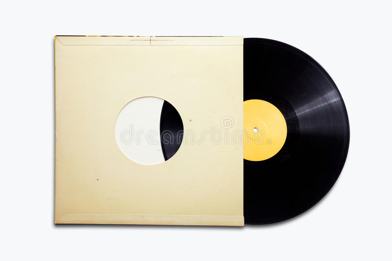 Old vinyl. Record on the white background stock photo