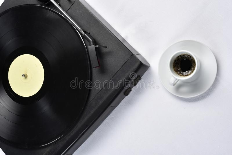 Old vinyl record with coffee.  royalty free stock photos
