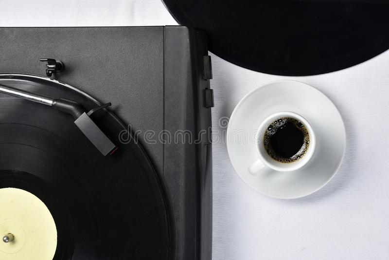 Old vinyl record with coffee.  stock photo