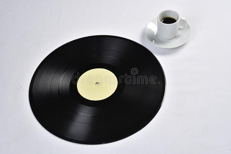 Old vinyl record with coffee.  royalty free stock photo