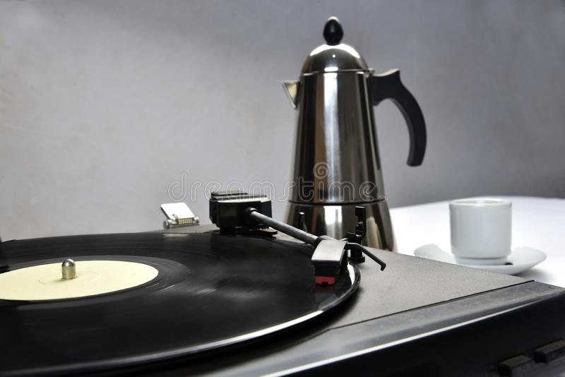 Old vinyl record with coffee.  royalty free stock images