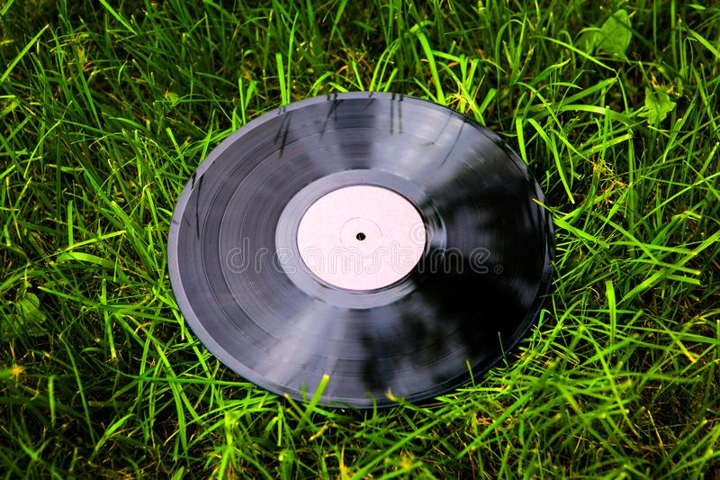 Old Vinyl Record. On the Grass Background stock photo