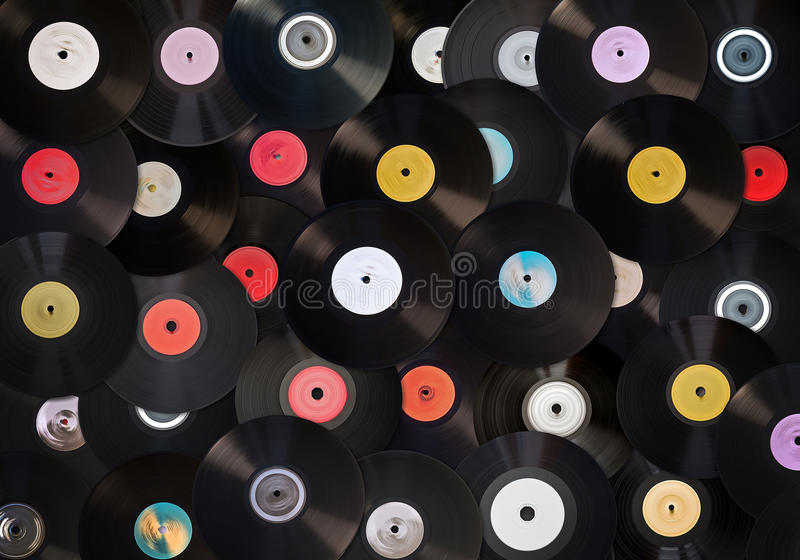 Old vinyl records. Collection, retro background royalty free stock image
