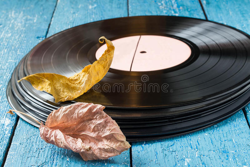 The old vinyl records and dry autumn leaves. Stack of old vinyl records and dry autumn leaves on a blue wooden background. The concept of the memories of the royalty free stock photo