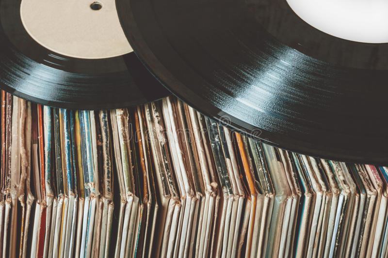 Old vinyl records royalty free stock photo