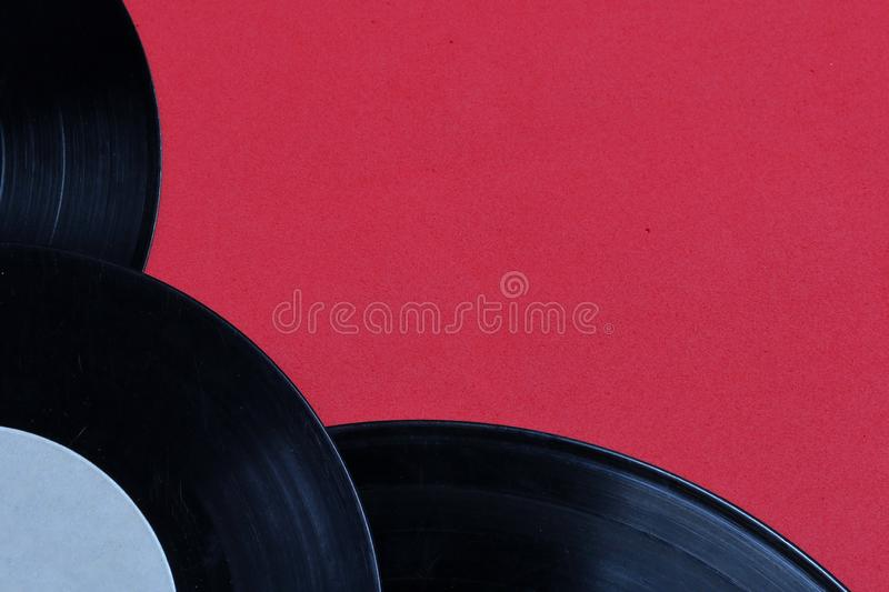 Old vinyl records. Worn and dirty. stock photography