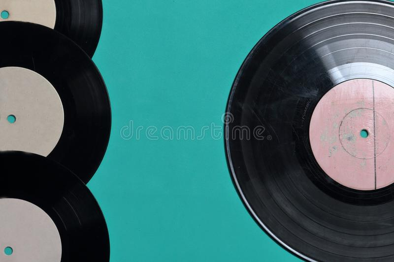 Old vinyl records. Worn and dirty. stock photo