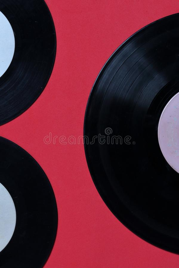 Old vinyl records. Worn and dirty. stock photos