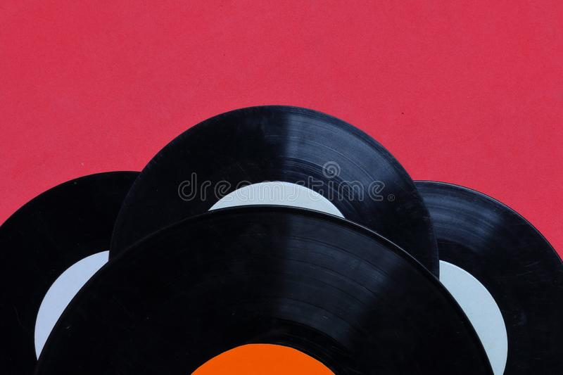 Old vinyl records. Worn and dirty. royalty free stock photography