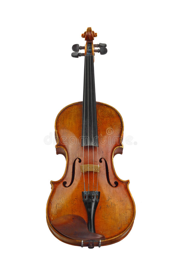 Old violin. Isolated on white royalty free stock images