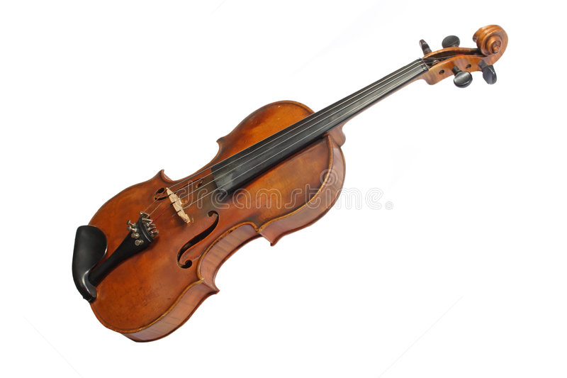 Old violin. E isolated on white background stock photography