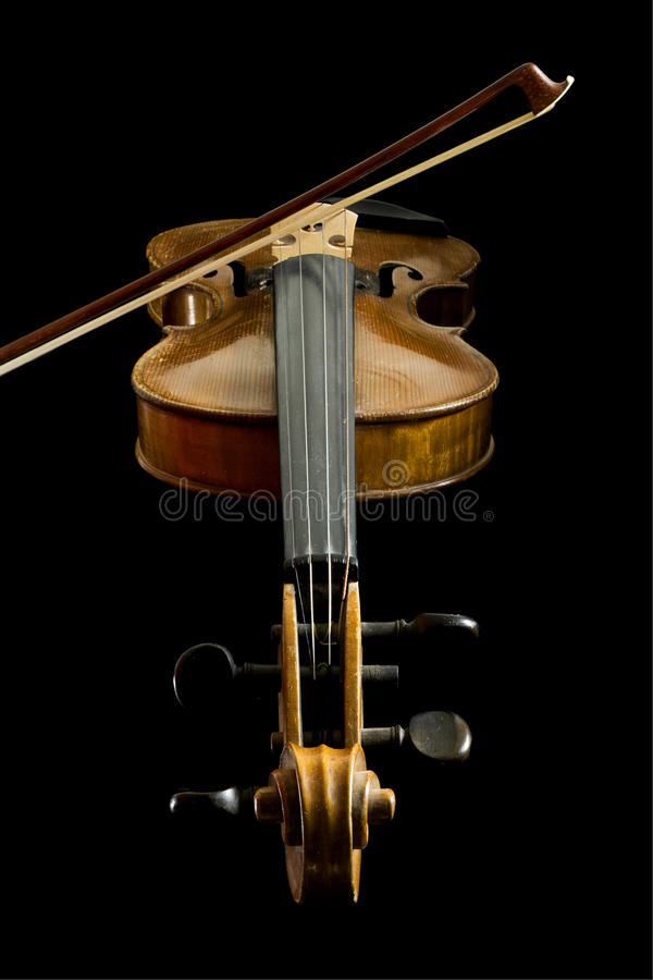 Download Old Violin And Bow, Low Angle View Stock Photo - Image: 11036784