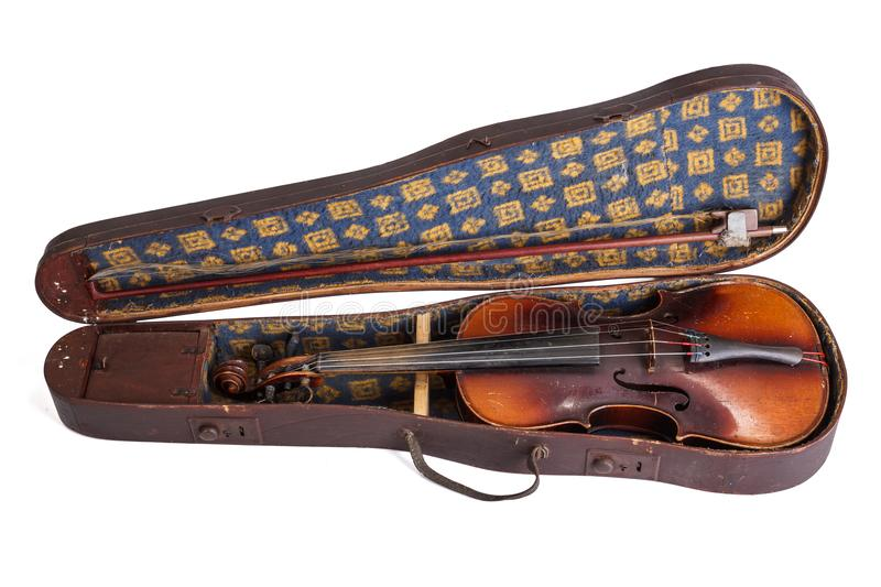 Old violin and bow in violin case stock photo