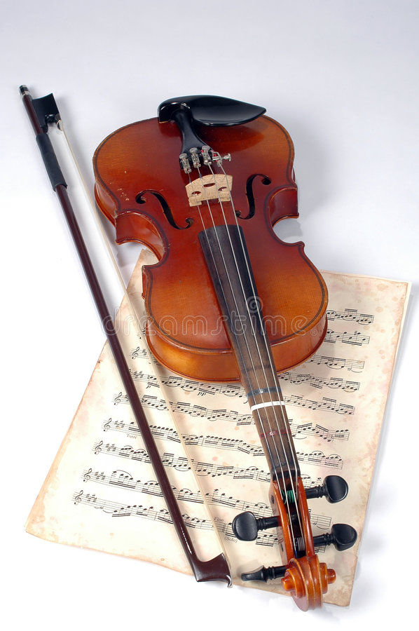 Old Violin With Music Sheet royalty free stock photo