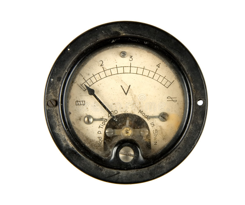 Antique Volt Meter : Old voltmeter stock image of needle circuit