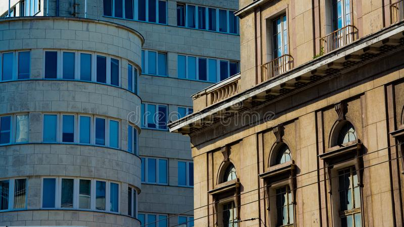 Old vs New buildings contrast royalty free stock photo