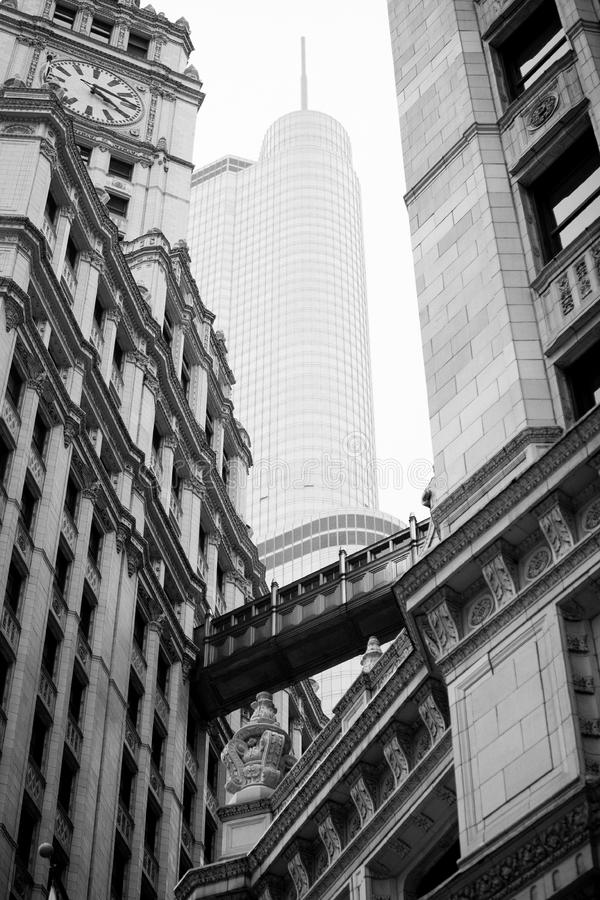 Old .vs New Skyscrapers Chicago Trump Tower stock photography