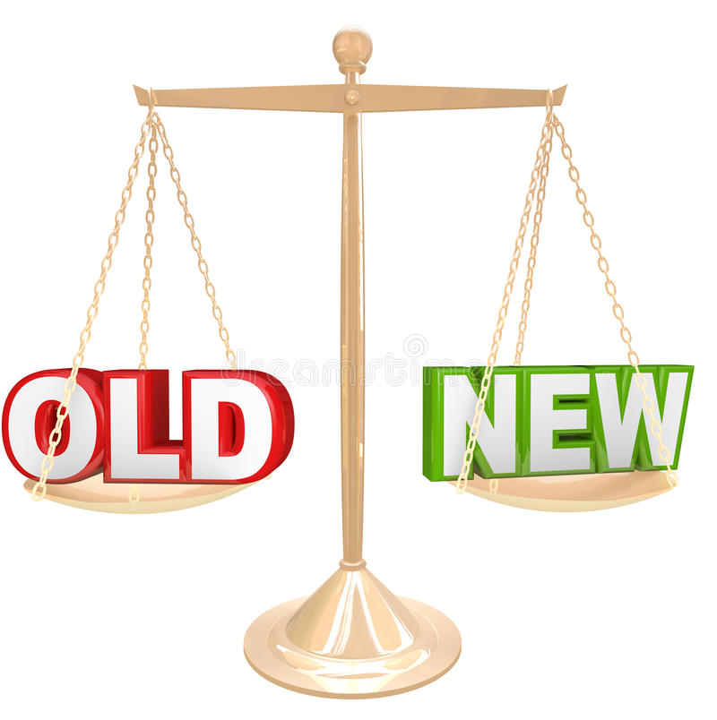 Old Vs New Words on Balance Scale Weighing Comparison. Weigh the pros and cons of something old vs a new choice with words on a gold balance or scale comparing a stock illustration
