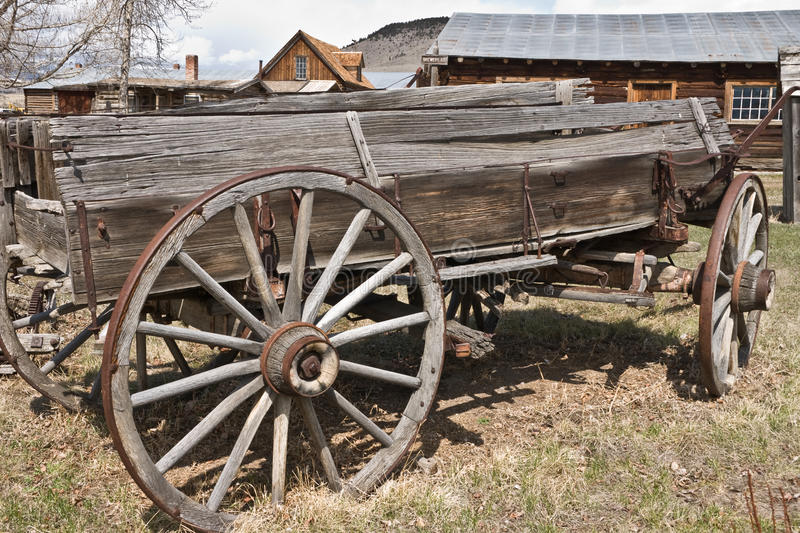 Old Wagon. Old weathered wagon in the Montana ghost town of Nevada City stock photo