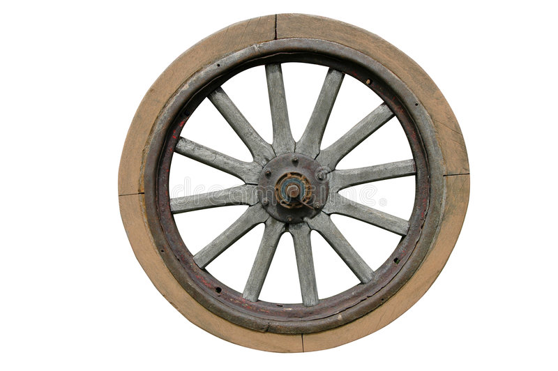 Old wagon wheel. Isolated on white background stock image