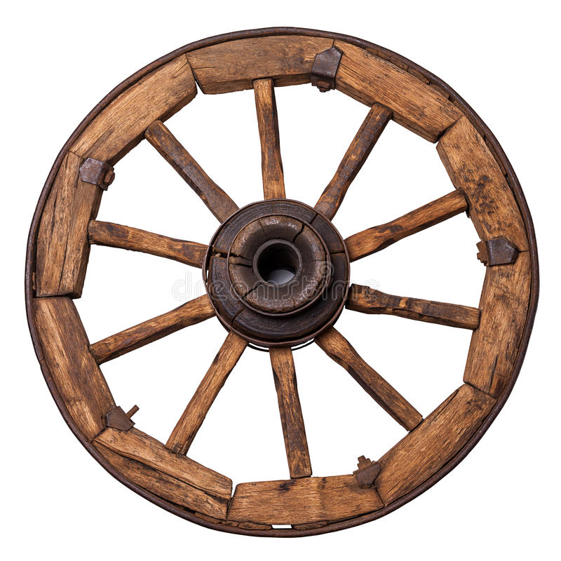 Old wagon wheel. On a white background royalty free stock photos
