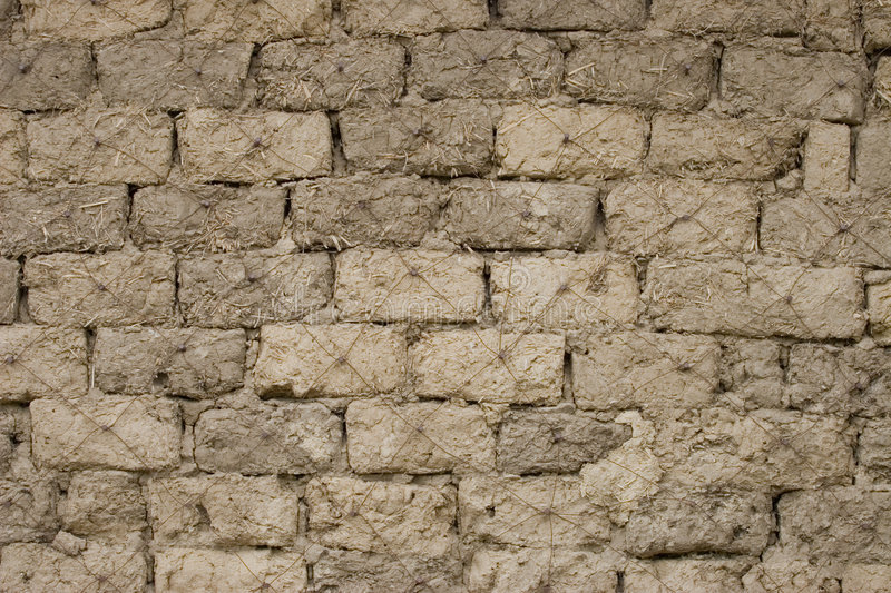 Old wall. Wall from an old house which was build with bricks made from ground royalty free stock images