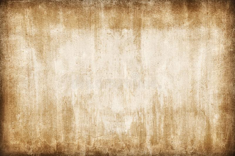 Old wall abstract sepia grunge background, brown broken cement brick banner stock image