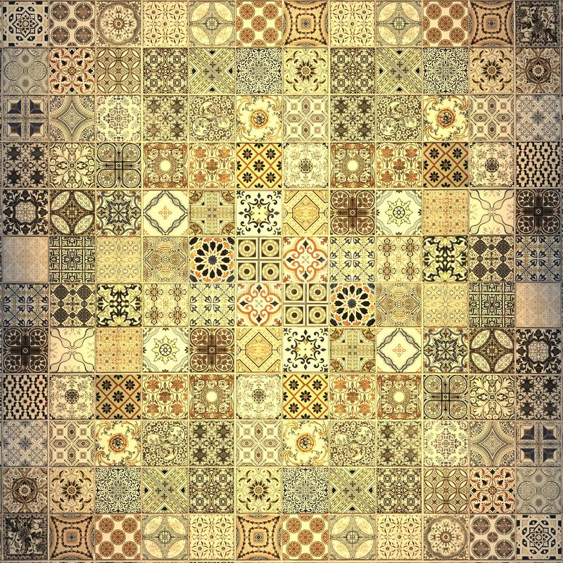 Old wall ceramic tiles patterns handcraft from stock photo