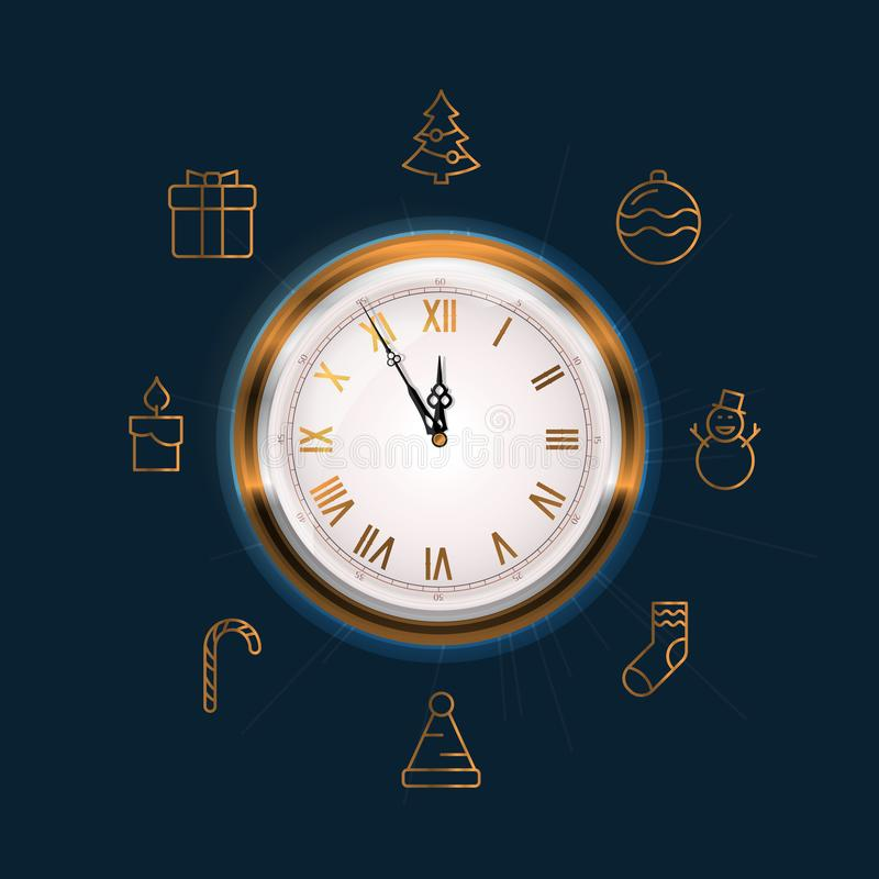 Old Wall Clock Face Showing Five to Twelve. New Year is Coming Soon Concept. Also Contains 8 Gold Line Icons Related to the Theme Christmas and New Year vector illustration