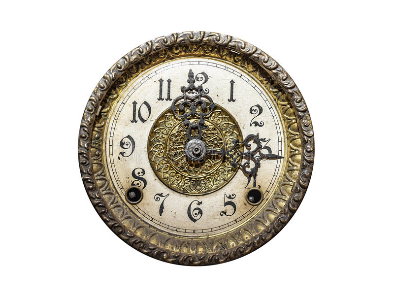 Old wall clock. Old wall clock isolated on a white background royalty free stock photo
