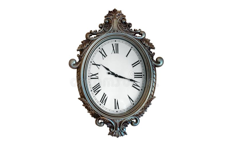 Old wall clock Isolated on white stock photography