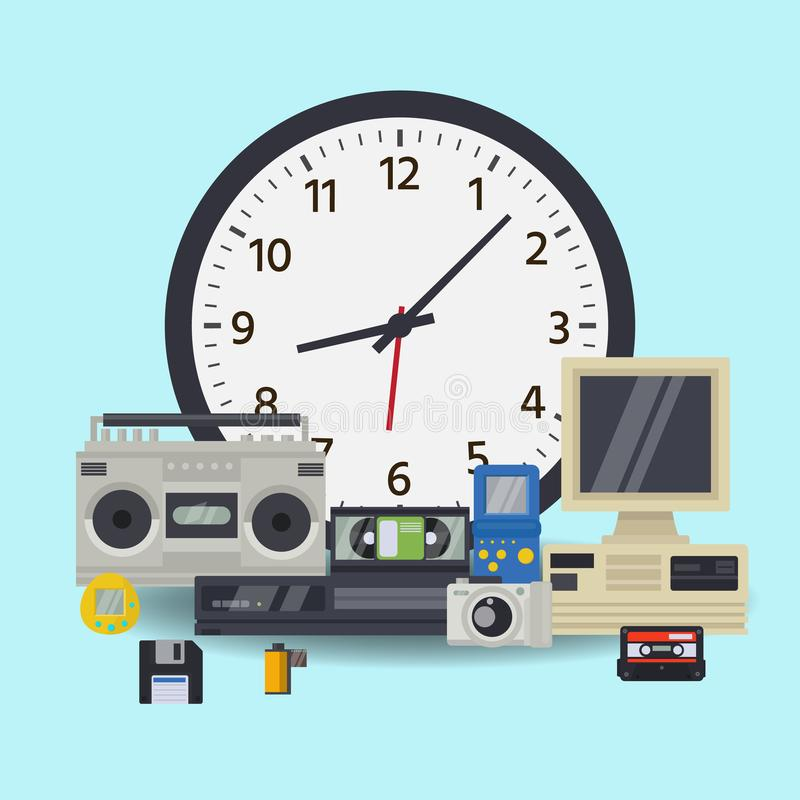 Old wall clock and retro technology multimedia vector illustration. Mechanical clock and multimedia electronic royalty free illustration