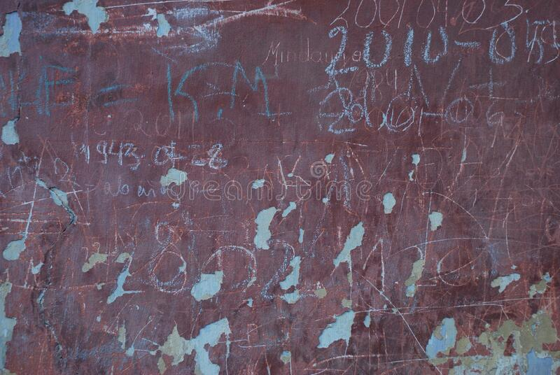 Written Letters And numbers on the wall. royalty free stock photography