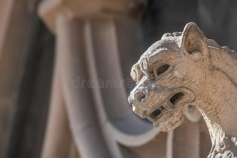 Old wall figure of scary dragon at main facade of Justice Palace in Magdeburg, Germany royalty free stock photos