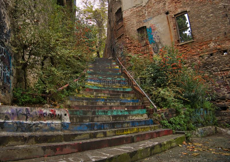 Old wall remains of a house with a staircase stock image